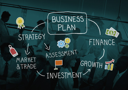 estrategia: Plan de Negocios de Marketing Estrategia de Crecimiento Finanzas Visi�n Foto de archivo