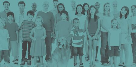 mixed age: Multi-ethnic group of mixed age people together family Concept Stock Photo