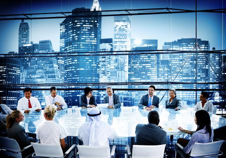 Zaken Mensen Vergadering Discussie Cityscape Concept