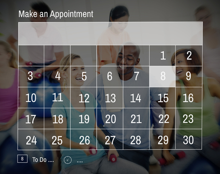 classes schedule: Calender Make Appointment Organization Management Concept