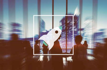 business innovation: Launch Startup Innovation Improvement Rocket Concept