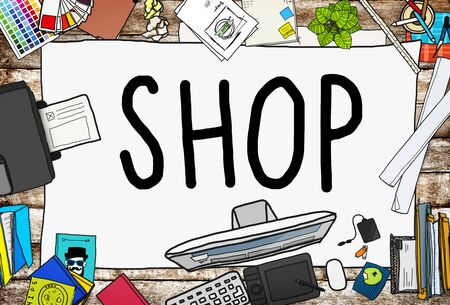 retail: Shop Shopping Retail Purchase Commercial Concept Stock Photo