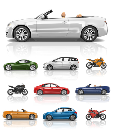 Transportation Vehicle Car Motorcycle Performance Concept Stock Photo