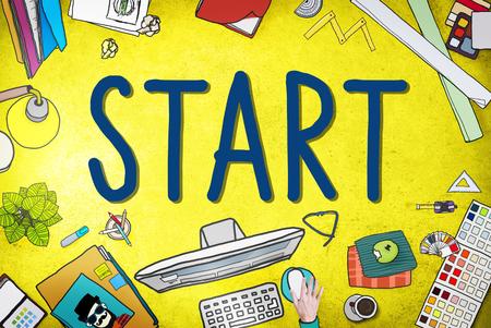 Start Journey Mission Achievement Begin Concept Stock Photo
