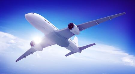 public transportation: Aircraft Midair Public Transportation Flying concept Stock Photo