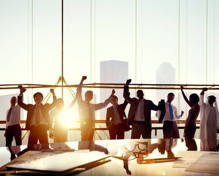 global communication: Business People Arms Raised Board Room Success Concept