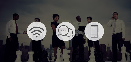 asian man laptop: Wireless Technology Online Messaging Communication Concept Stock Photo
