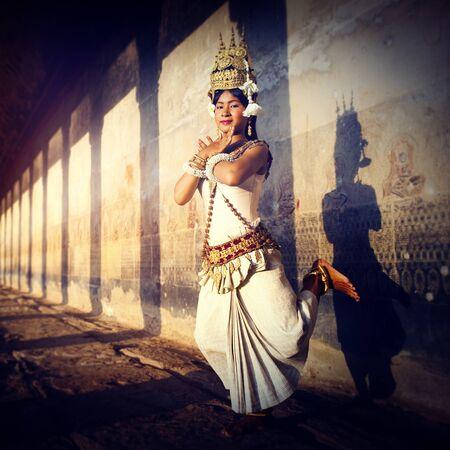 vestidos de epoca: A beautiful young dancer posing for a picture Concept Foto de archivo