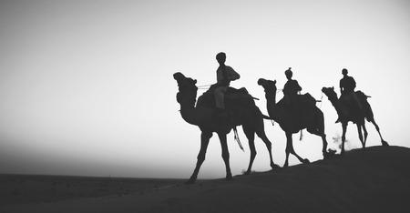 indigenous: Indigenous Indian Riding Through Desert Camel Concept