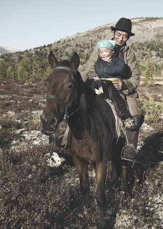independent mongolia: Mongolian Tsataan Horse Equestrian Remote Rural Concept Stock Photo