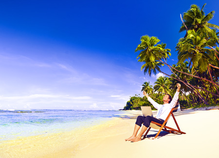 freedom: Happy Successful Businessman Freedom Vacation Concept