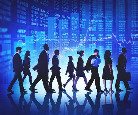 stock market: Business People Commuter Walking Finance Stock Market Concept