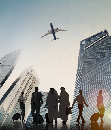 business people walking: Business People Walking Corporate Travel Airplane Concept