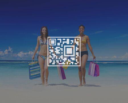 merchandise: QR Code Price Tag Coding Encryption Label Merchandise Concept
