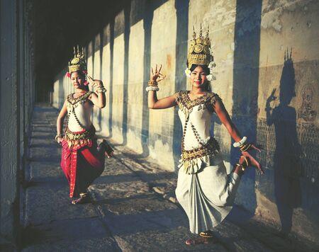 Aspara ダンサー アンコール ワット セピア調伝統的な概念 写真素材
