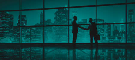 illuminate: Business Men People Handshake Silhouette Concept