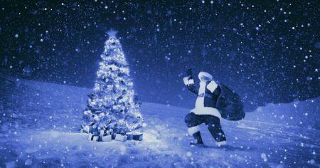 snowing: Santa Claus Night Christmas Season Snowing Concept