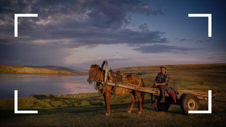 horse and cart: Camera Focus Frame Border Copy Space Concept