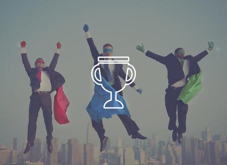 happiness or success: Trophy Reward Prize VIctory Success Achievement Concept