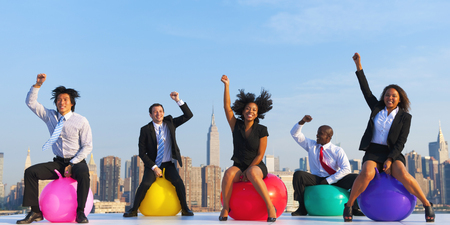 Business People Exercise Fitness Ball Healthy Liviing Concept