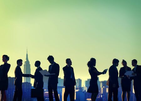 new york silhouette: Business People New York Outdoor Meeting Silhouette Concept