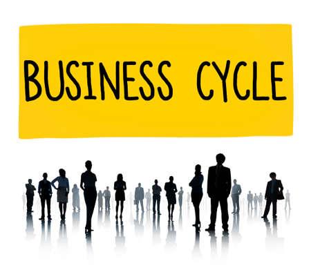 perdidas y ganancias: Ciclo de Negocio Ingresos Beneficio P�rdida Recesi�n Concepto Foto de archivo