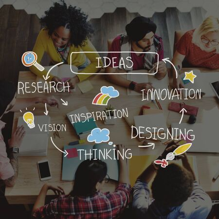 inspiration: Ideas Thinking Strategy Creativity Planning Inspiration Concept Stock Photo