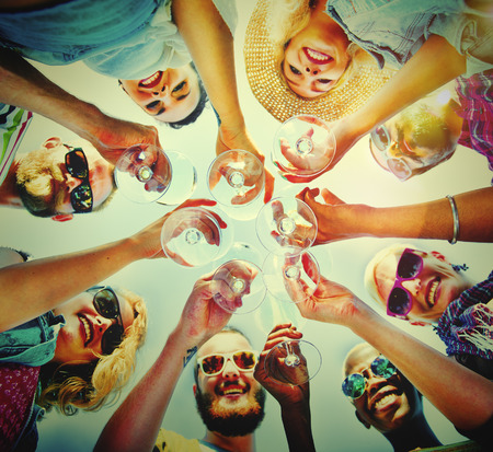 fun: Beach Cheers Celebration Friendship Summer Fun Concept Stock Photo