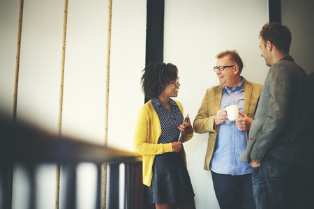 gente adulta: Business Team Coffee Break Relájese Concepto Foto de archivo
