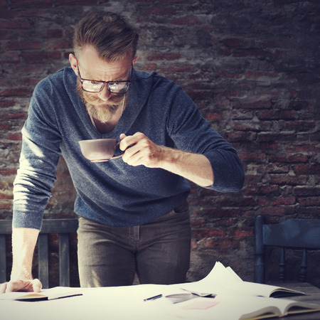 hipster: Man Working Home Office Start up Ideas Concept