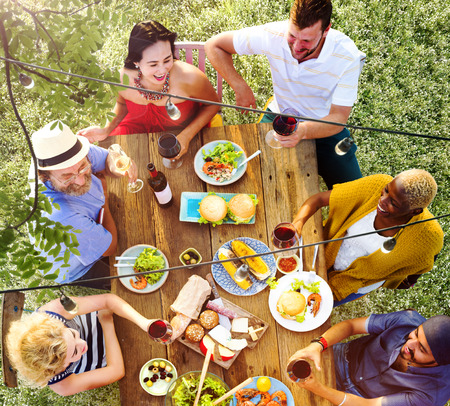 Friends Friendship Outdoor Dining People Concept Фото со стока