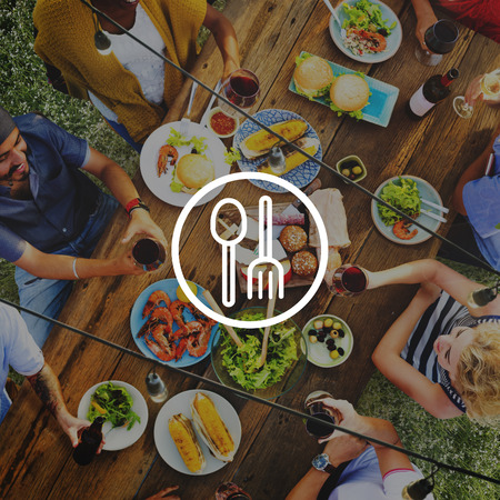 outdoor dining: Spoon Fork Dishware Foodcourt Equipment Concept