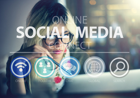 manager office: Online Social Media Networking Connnect Internet Concept Stock Photo