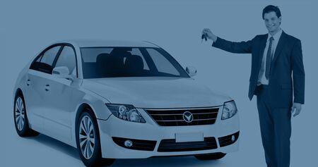 motoring: Car Vehicle Sedan Transportation 3D Illustration Concept
