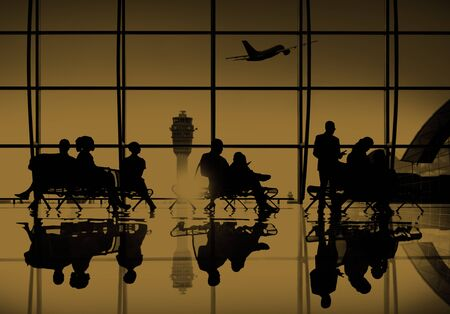 airport window: Business People Travel Passenger Airport Terminal Concept Stock Photo