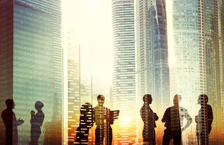 organization: 비즈니스 사람들이 회의 토론 도시 개념