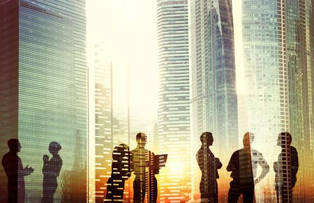 cityscape silhouette: Business People Meeting Discussion Cityscape Concept