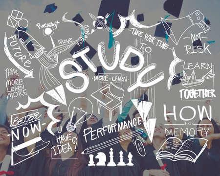 conocimientos: Estudio Aprenda Educaci�n Actividad Conocimiento Concepto Foto de archivo