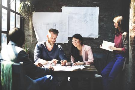 reunion de personas: Diseñador de arquitectura de interiores concepto de la reunión de negocios Foto de archivo