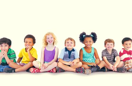 happines: Children Kids Happines Multiethnic Group Cheerful Concept Stock Photo