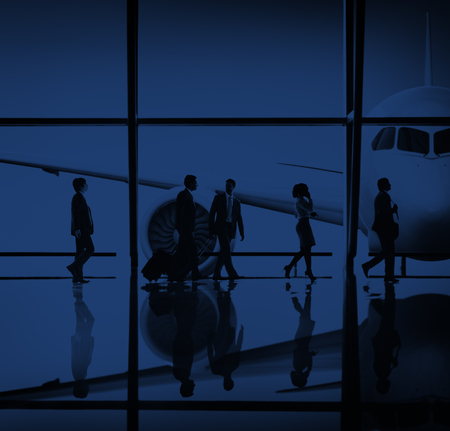 flight mode: Business People Traveling Airplane Airport Concept Stock Photo