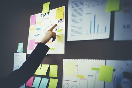planificacion: Carta concepto Organizaci�n de Planificaci�n de Marketing Foto de archivo
