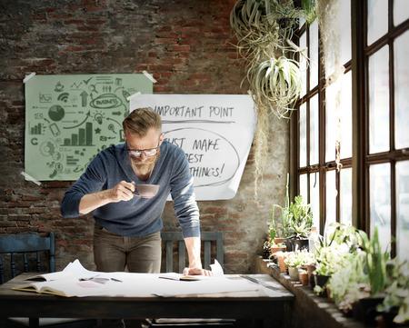 working place: Businessman Determine Ideas Working Plan Concept
