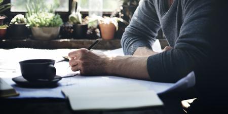 De travail du Home Office Man Start up Idées Concept