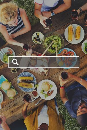 dinner dish: Summer Togetherness Friendship Searching Internet Concept