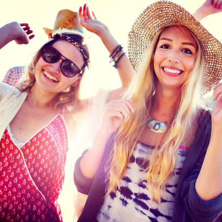 diverse group: Teenagers Friends Beach Party Happiness Concept Stock Photo