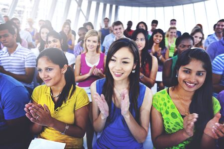 applause: Group People Casual Learning Lecture Applause Clapping Concept Stock Photo