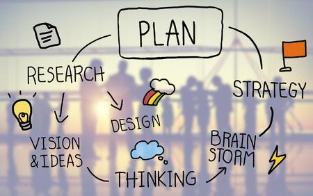 思考創造性の成功の概念をブレーンストーミングを計画します。 写真素材