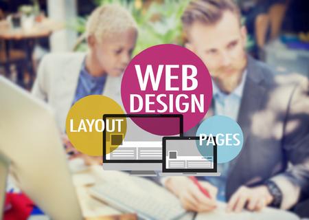 Web デザインのウェブサイト WWW レイアウト ページの接続概念 写真素材