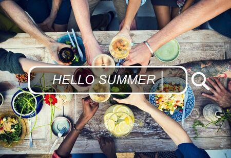searh: Hello Summer Beach Browsing Searh Box Concept Stock Photo